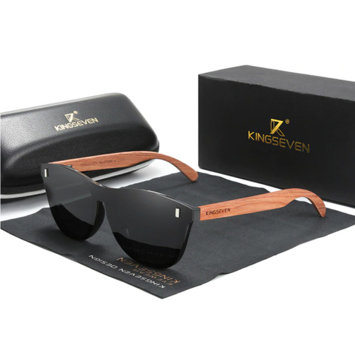 Luxe Zonnebril met Houten Montuur - UV400 en Polarisatie Filter voor Vrouwen - Zwart