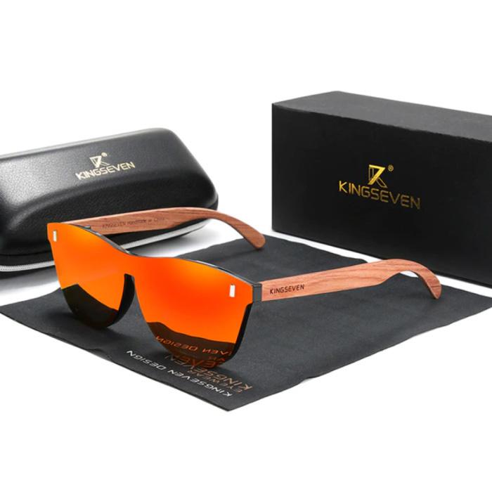 Luxe Zonnebril met Houten Montuur - UV400 en Polarisatie Filter voor Vrouwen - Oranje