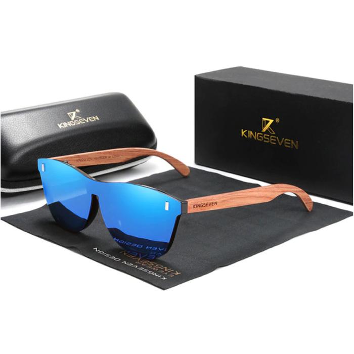 Luxe Zonnebril met Houten Montuur - UV400 en Polarisatie Filter voor Vrouwen - Blauw