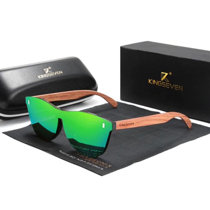 Luxe Zonnebril met Houten Montuur - UV400 en Polarisatie Filter voor Vrouwen - Groen