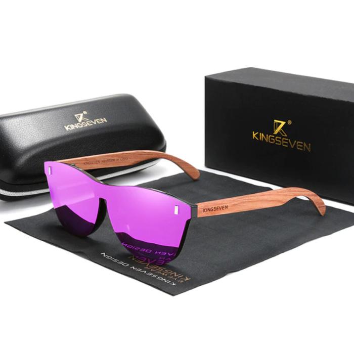 Luxe Zonnebril met Houten Montuur - UV400 en Polarisatie Filter voor Vrouwen - Roze