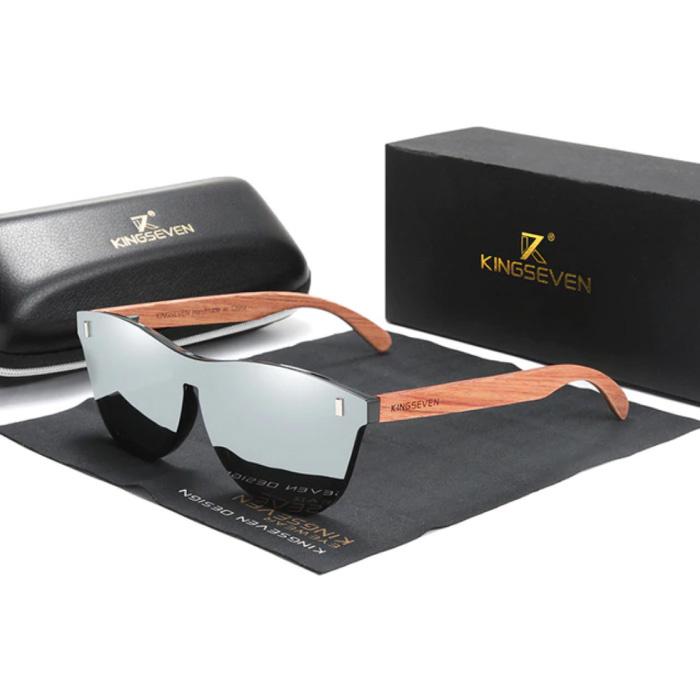 Luxe Zonnebril met Houten Montuur - UV400 en Polarisatie Filter voor Vrouwen - Zilver
