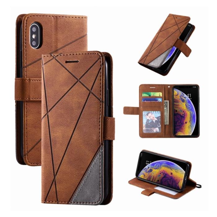 Xiaomi Redmi 9 Flip Case - Leren Portefeuille PU Leer Wallet Cover Cas Hoesje Bruin