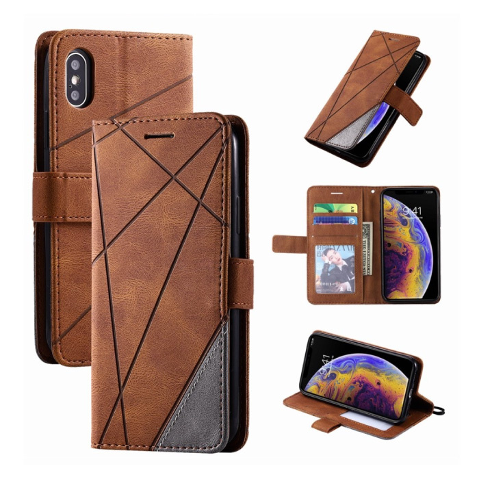 Xiaomi Redmi Note 9S Flip Case - Leather Wallet PU Leather Wallet Cover Cas Case Brown