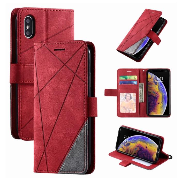 Xiaomi Redmi 9 Flip Case - Leren Portefeuille PU Leer Wallet Cover Cas Hoesje Rood