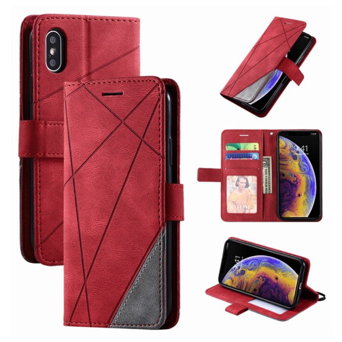 Xiaomi Redmi 6A Flip Case - Leather Wallet PU Leather Wallet Cover Cas Case Red