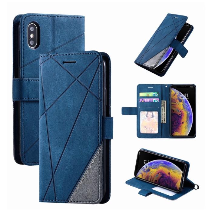 Xiaomi Redmi 9A Flip Case - Leren Portefeuille PU Leer Wallet Cover Cas Hoesje Blauw