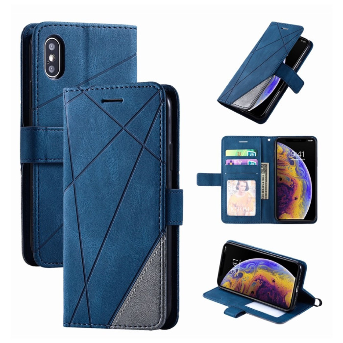 Xiaomi Mi Note 10 Pro Flip Case - Leren Portefeuille PU Leer Wallet Cover Cas Hoesje Blauw