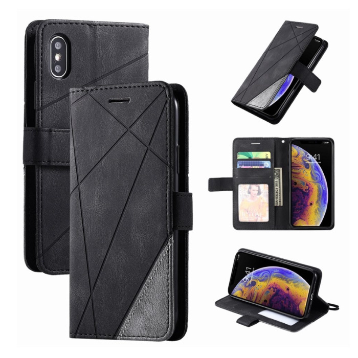 Xiaomi Redmi 8A Flip Case - Leren Portefeuille PU Leer Wallet Cover Cas Hoesje Zwart