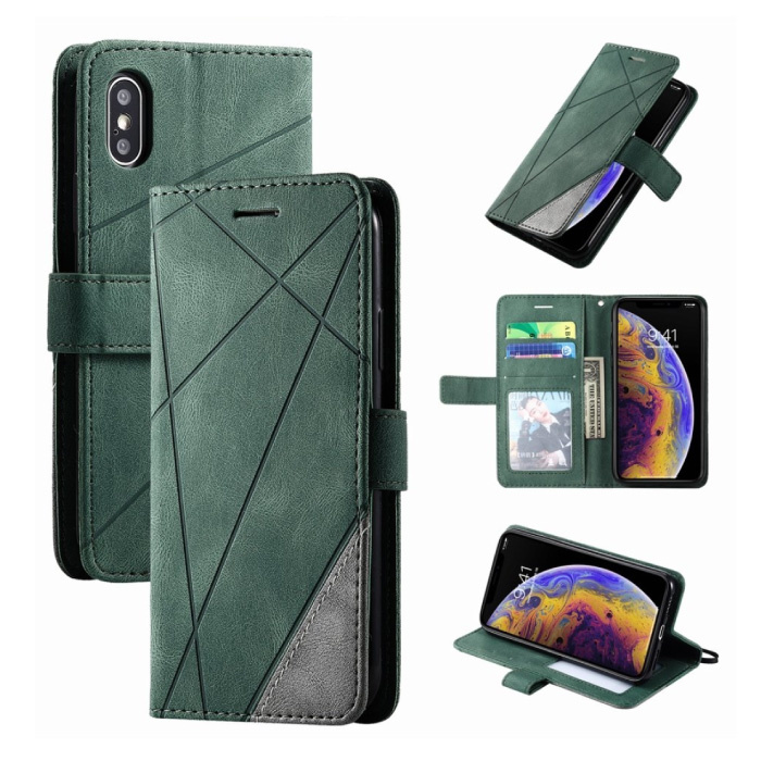 Xiaomi Mi A3 Lite Flip Case - Leren Portefeuille PU Leer Wallet Cover Cas Hoesje Groen