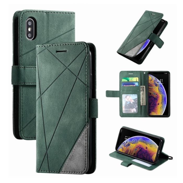 Xiaomi Redmi Note 9 Pro Max Flip Case - Leren Portefeuille PU Leer Wallet Cover Cas Hoesje Groen