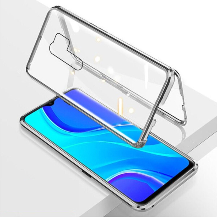 Xiaomi Redmi 9 Magnetic 360 ° Case with Tempered Glass - Full Body Cover Case + Screen Protector Silver