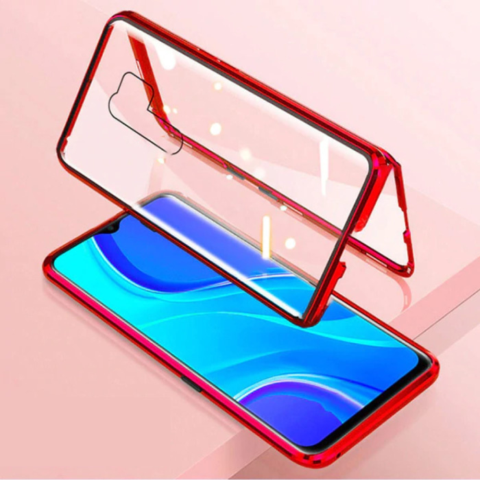 Xiaomi Redmi 9C Magnetisch 360° Hoesje met Tempered Glass - Full Body Cover Hoesje + Screenprotector Rood