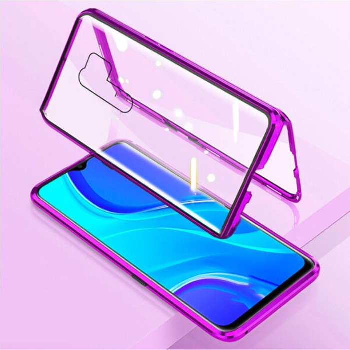 Xiaomi Mi 8 Lite Magnetisch 360° Hoesje met Tempered Glass - Full Body Cover Hoesje + Screenprotector Paars
