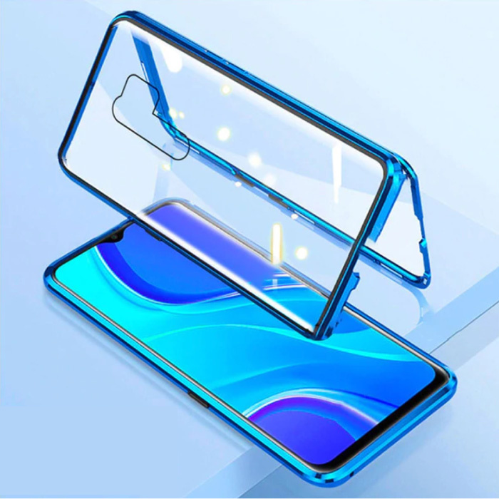 Xiaomi Mi 8 Lite Magnetisch 360° Hoesje met Tempered Glass - Full Body Cover Hoesje + Screenprotector Blauw