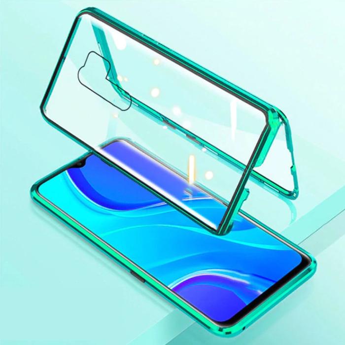 Xiaomi Redmi 9 Magnetische 360 ° Hülle mit gehärtetem Glas - Ganzkörperhülle + Displayschutzgrün