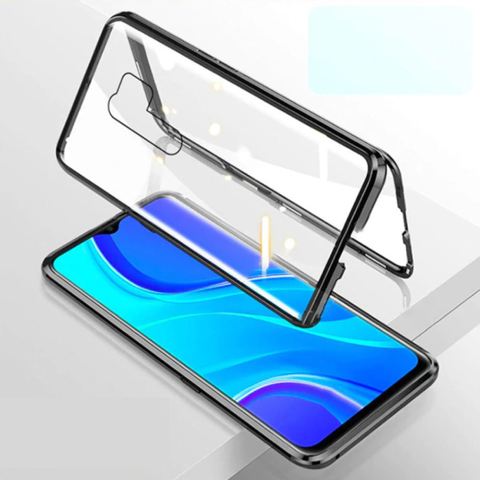 Xiaomi Redmi 9 Magnetic 360 ° Case with Tempered Glass - Full Body Cover Case + Screen Protector Black