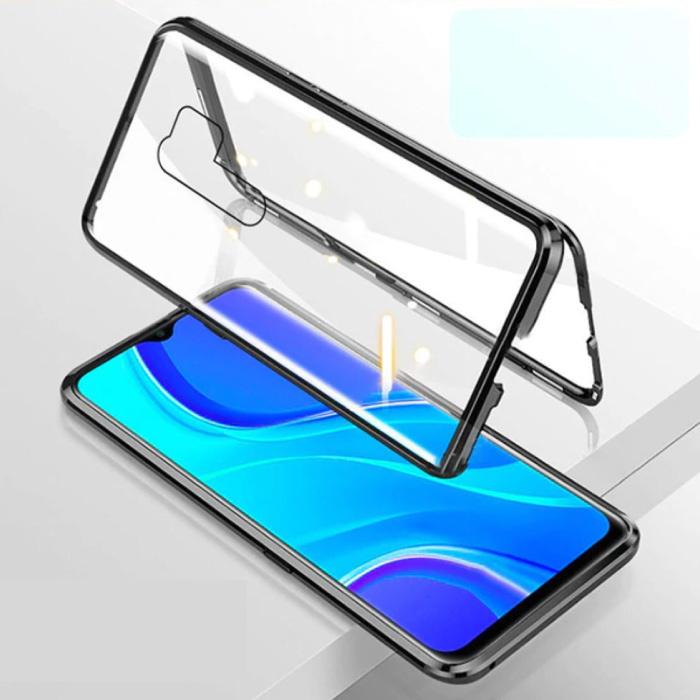 Xiaomi Redmi Note 9 Pro Max Magnetische 360 ° -Hülle mit gehärtetem Glas - Ganzkörperhülle + Displayschutzfolie Schwarz