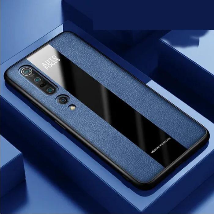 Xiaomi Mi 10 Lite Leather Case - Magnetic Case Cover Cas Blue + Kickstand