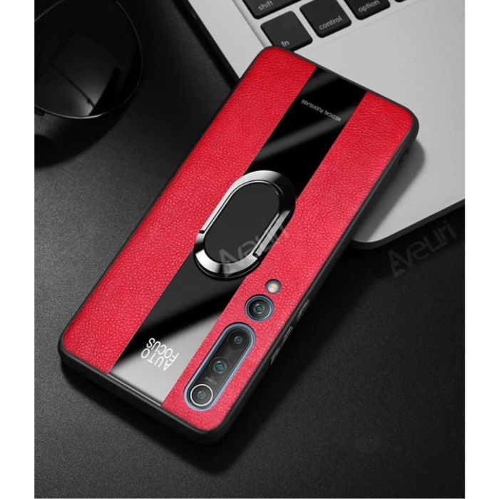 Xiaomi Mi Note 10 Leather Case - Magnetic Case Cover Cas Red + Kickstand