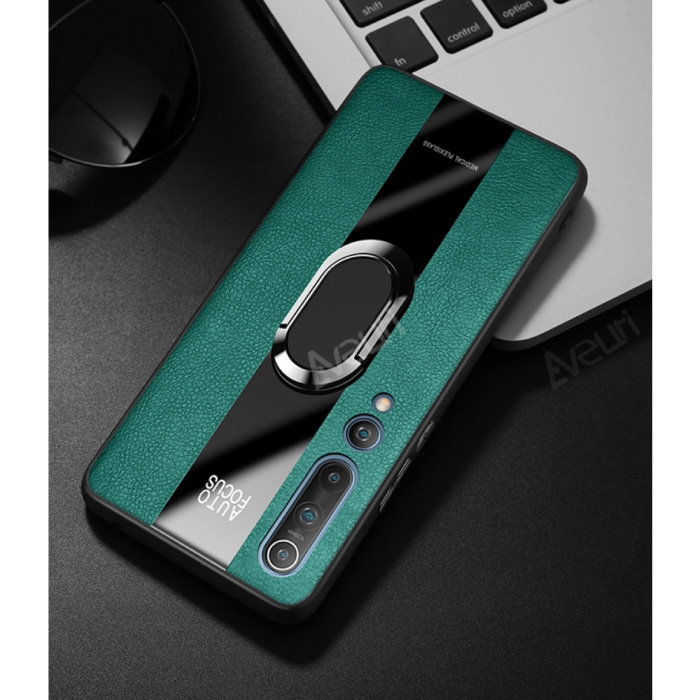 Xiaomi Redmi Note 9 Pro Leather Case - Magnetic Case Cover Cas Green + Kickstand