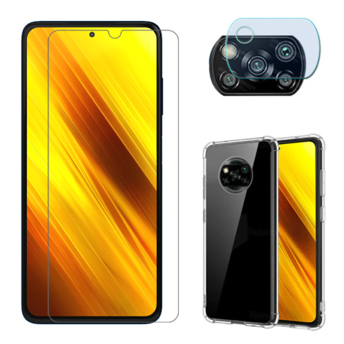 3 in 1 Protection for Xiaomi Redmi Note 9S - Screen Protector Tempered Glass + Camera Protector + Case Case Cover