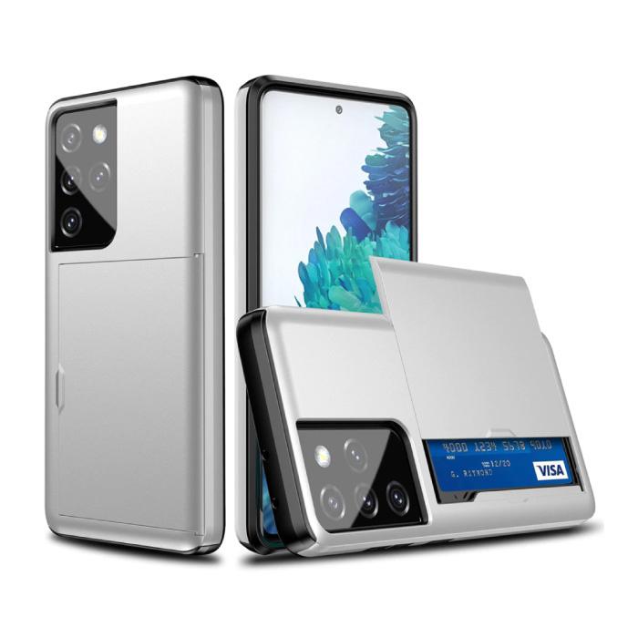 Samsung Galaxy J3 - Brieftasche Kartensteckplatz Abdeckung Fall Fall Business Weiß