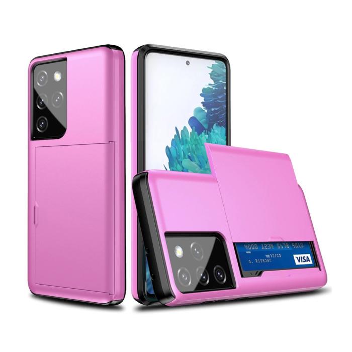 Samsung Galaxy J3 - Brieftasche Kartensteckplatz Abdeckung Fall Fall Business Lila