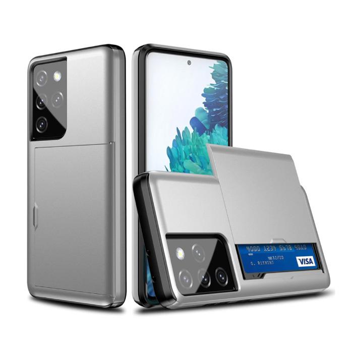 Samsung Galaxy J3 - Brieftasche Kartensteckplatz Abdeckung Fall Fall Business Silber