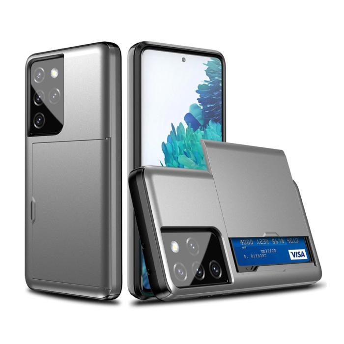 Samsung Galaxy J3 - Brieftasche Kartensteckplatz Abdeckung Fall Fall Business Grau