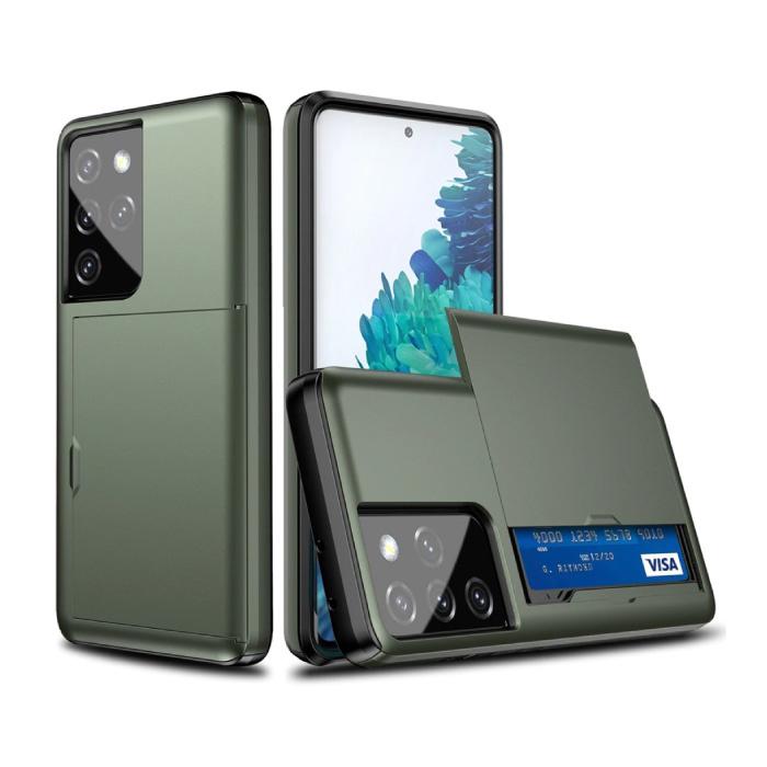 Samsung Galaxy S21 - Wallet Card Slot Cover Case Case Business Dark Green