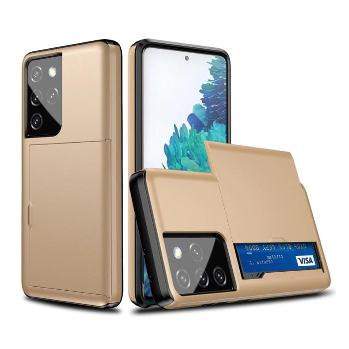 Samsung Galaxy S21 Ultra - Étui portefeuille avec fente pour carte Business Gold