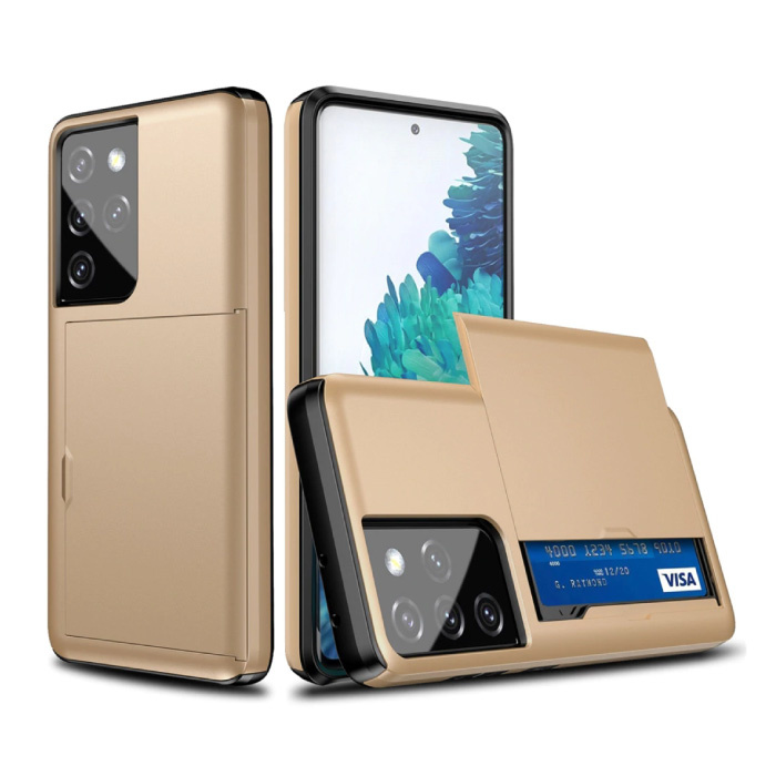 Samsung Galaxy J2 - Wallet Card Slot Cover Case Hoesje Business Goud