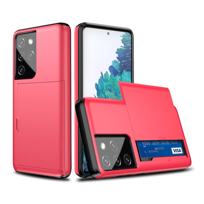 Samsung Galaxy S8 Plus - Brieftasche Kartensteckplatz Abdeckung Fall Fall Business Red