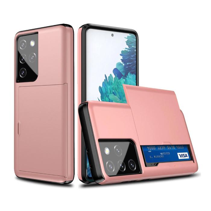Samsung Galaxy J7 - Brieftasche Kartensteckplatz Abdeckung Fall Fall Business Pink