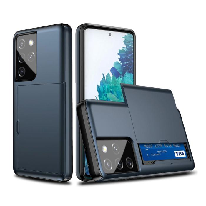 Samsung Galaxy J3 - Brieftasche Kartensteckplatz Abdeckung Fall Fall Business Blue