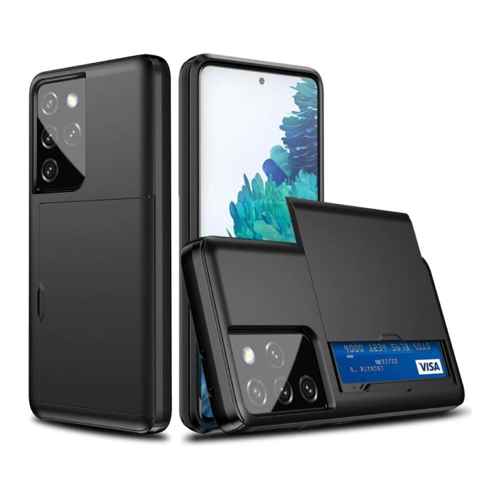 Samsung Galaxy J2 - Brieftasche Kartensteckplatz Abdeckung Fall Fall Business Schwarz