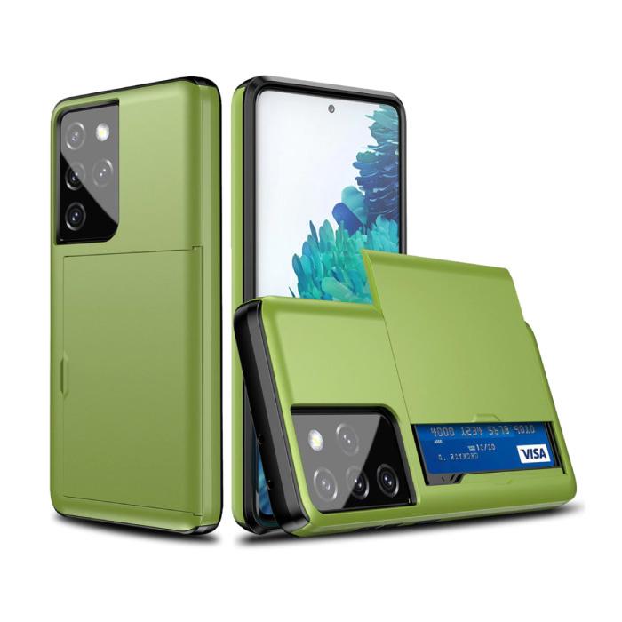 Samsung Galaxy S21 Ultra - Wallet Card Slot Cover Case Hoesje Business Groen