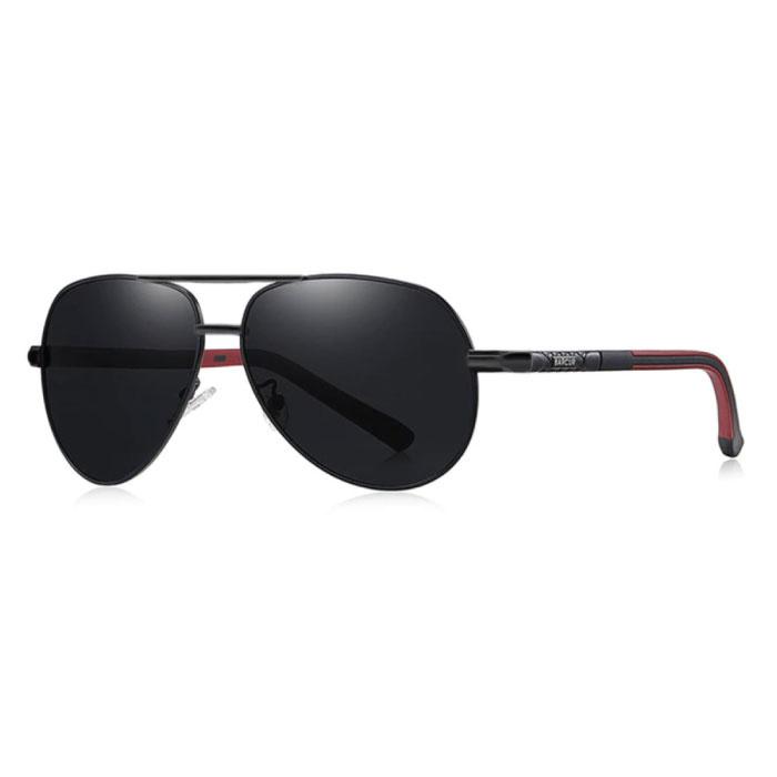Vintage Shades Zonnebril - Roestvrij Staal Legering Pilotenbril met UV400 en Polarisatie Filter voor Mannen - Zwart