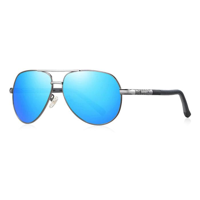 Lunettes de soleil Vintage Shades - Lunettes de pilote en alliage d'acier inoxydable avec UV400 et filtre polarisant pour homme - Bleu