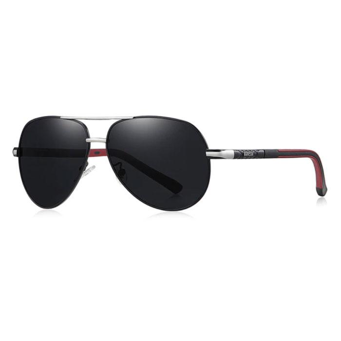 Lunettes de soleil Vintage Shades - Lunettes de pilote en alliage d'acier inoxydable avec UV400 et filtre polarisant pour homme - Noir-Argent