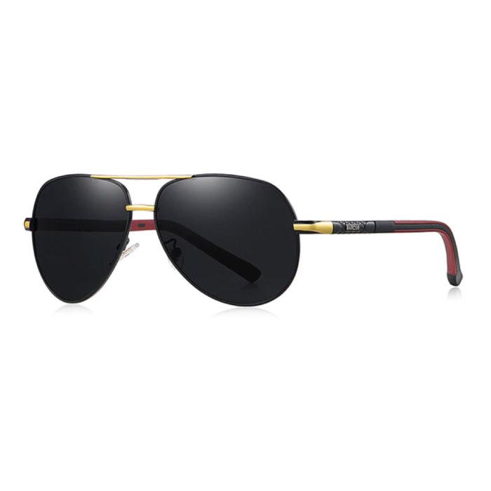 Lunettes de soleil Vintage Shades - Lunettes de pilote en alliage d'acier inoxydable avec UV400 et filtre polarisant pour homme - Noir-Or