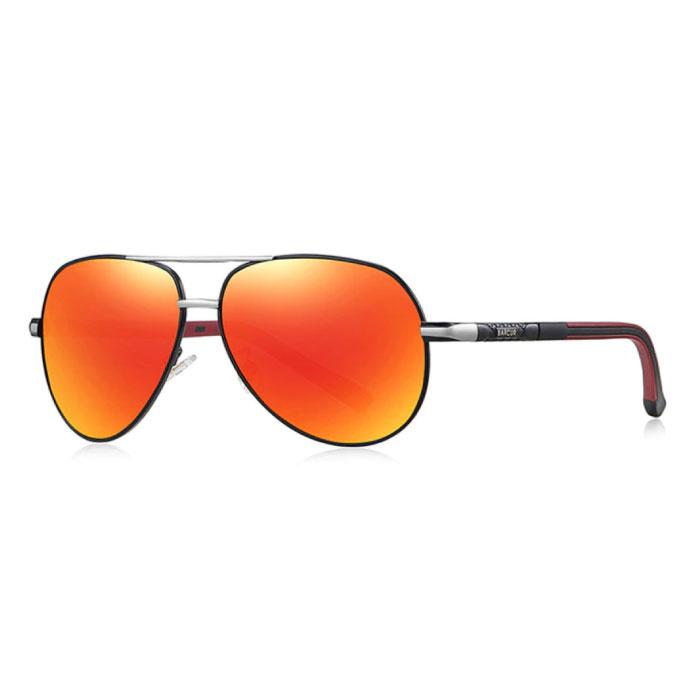 Vintage Shades Zonnebril - Roestvrij Staal Legering Pilotenbril met UV400 en Polarisatie Filter voor Mannen - Oranje-Zwart