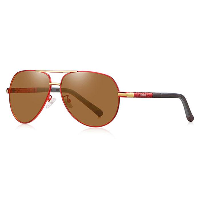 Lunettes de soleil Vintage Shades - Lunettes de pilote en alliage d'acier inoxydable avec UV400 et filtre polarisant pour homme - Marron