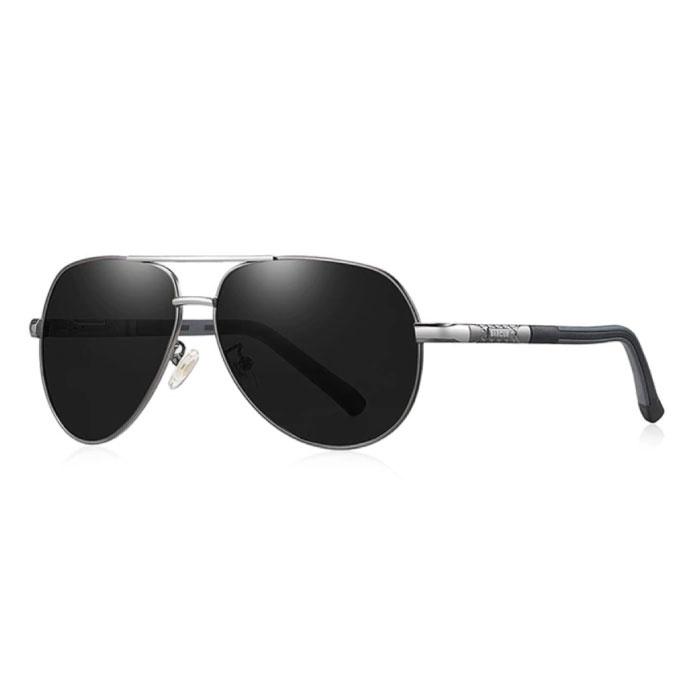 Vintage Shades Sonnenbrille - Pilotbrille aus Edelstahllegierung mit UV400 und Polarisationsfilter für Herren - Schwarz-Grau