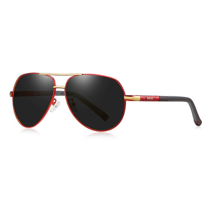 Lunettes de soleil Vintage Shades - Lunettes de pilote en alliage d'acier inoxydable avec filtre UV400 et polarisant pour homme - Noir-Rouge
