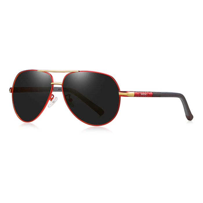 Vintage Shades Zonnebril - Roestvrij Staal Legering Pilotenbril met UV400 en Polarisatie Filter voor Mannen - Zwart-Rood