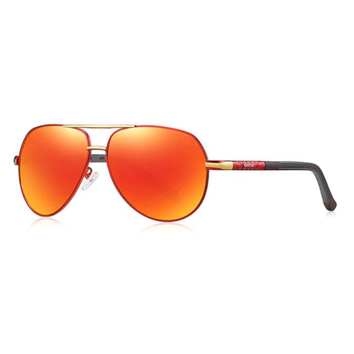 Lunettes de soleil Vintage Shades - Lunettes de pilote en alliage d'acier inoxydable avec UV400 et filtre polarisant pour homme - Orange-Rouge