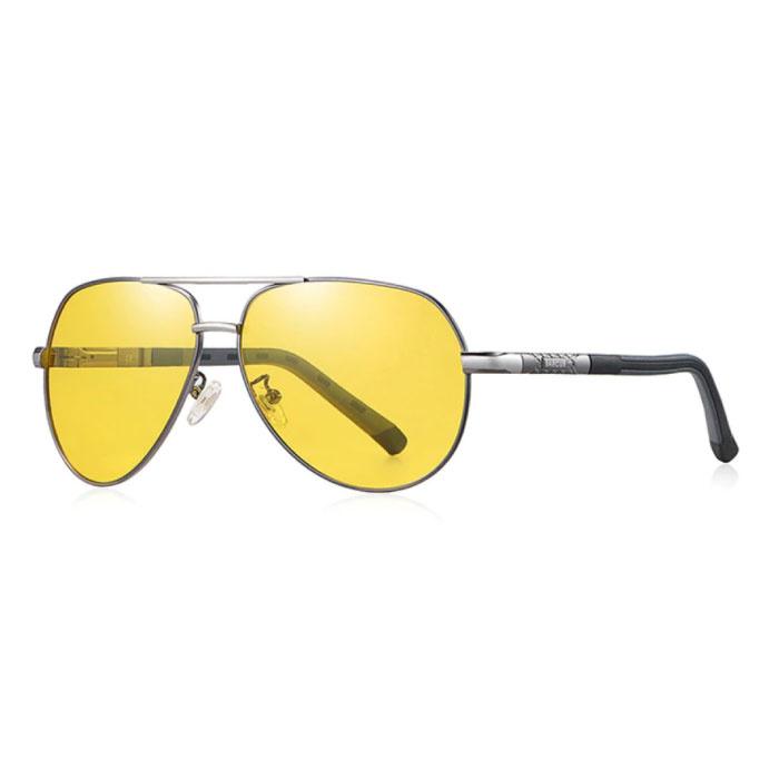 Lunettes de soleil Vintage Shades - Lunettes de pilote en alliage d'acier inoxydable avec UV400 et filtre polarisant pour homme - Jaune