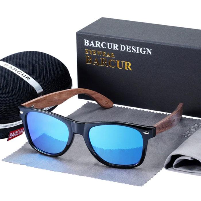 Zonnebril Walnoot Hout - UV400 en Polaroid Filter voor Mannen en Vrouwen - Blauw